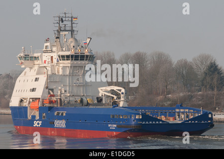 Icebreaker Vitus Bering passing the Kiel-Canal - Stock Image