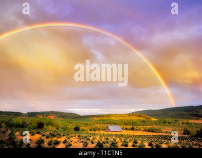 Barn and rainbow. Near Monroe, Oregon - Stock Image