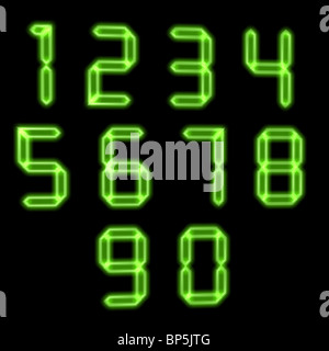 Green electronic numbers - Stock Image