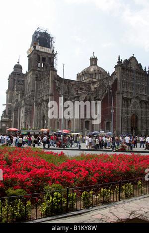 The Metropolitan Cathedral, Zocalo Square, Plaza de la Constitucion, Mexico City, Mexico - Stock Image