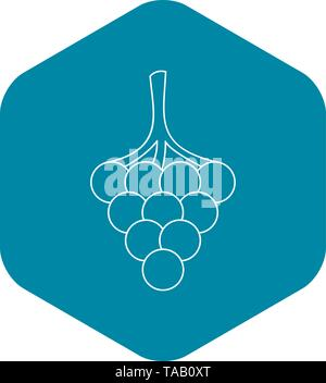 Branch of grape icon, outline style - Stock Image