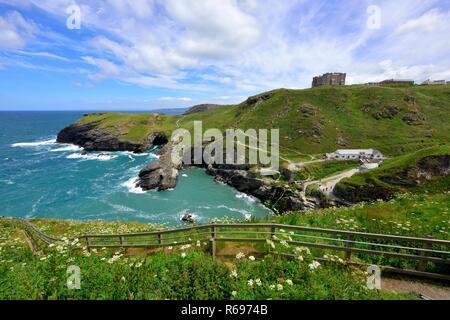 Tintagel castle, Island Peninsula,Cornwall,England,UK - Stock Image