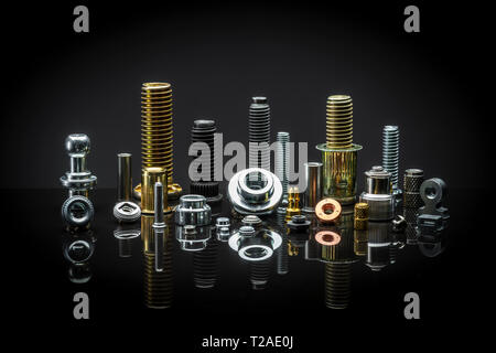 A neat arrangement of assorted Nuts, bolts and fasteners - Stock Image