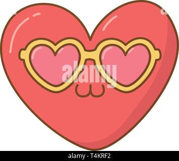 heart with sunglasses icon cartoon vector illustration graphic design - Stock Image