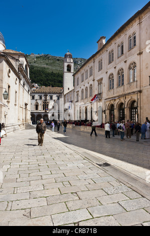Old town of Dubrovnik with the bell tower and the Sponza Palace at back, UNESCO World Heritage Site, central Dalmatia, - Stock Image