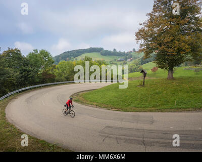 Man riding racing bicycle on cycling tour in the Southern Black Forest, Baden-Württemberg, Germany - Stock Image