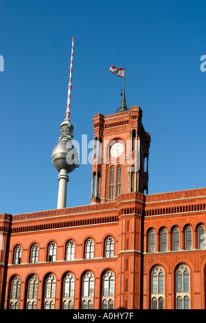 Berlin Mitte Red town hall Rotes Rathaus Alex TV Tower - Stock Image