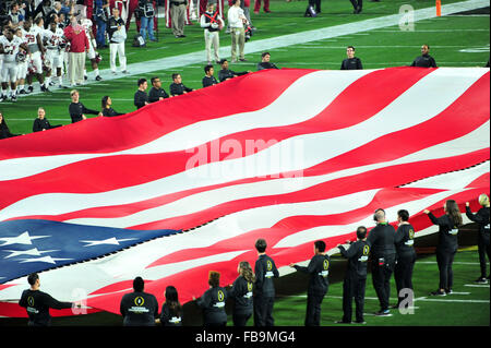 Glendale, AZ, USA. 11th Jan, 2016. An American flag at UOP Stadium prior to the 2016 College Football Playoff National - Stock Image