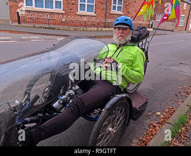 Keith on a recumbent Tricycle bike, Antrobus, Northwich, Cheshire, North West England, UK, CW9 6JW - Stock Image