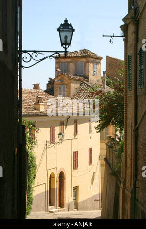 Charming corner of the beautiful small town of Offida in Le Marche, Italy - Stock Image
