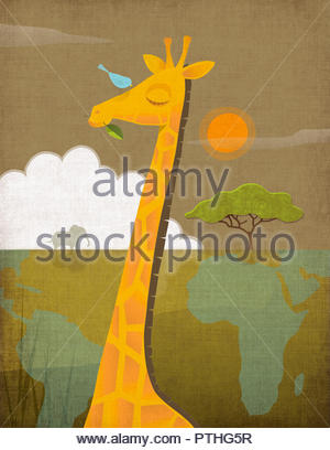 Giraffe in the African savanna with world map - Stock Image