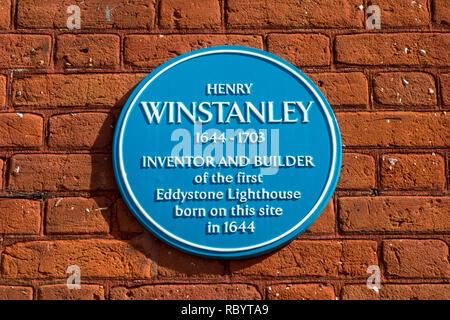 Henry Winstanley, blue plaque, Saffron Walden, Uttlesford, Essex, UK - Stock Image