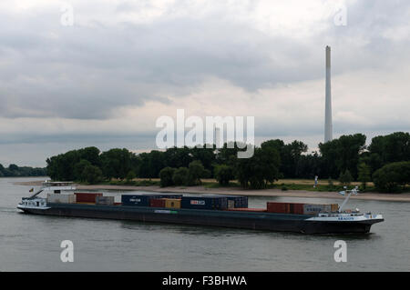 Aragon container barge, river Rhine, Leverkusen, Germany. - Stock Image