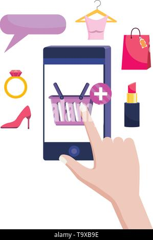 Hand holding smartphone design, Store shopping online ecommerce media market and internet theme Vector illustration - Stock Image