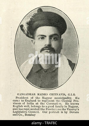 Vintage photograph of Gangadhar Rao Chitnavis, an Indian landholder and politician in the Central Provinces, British India. , 1902 - Stock Image