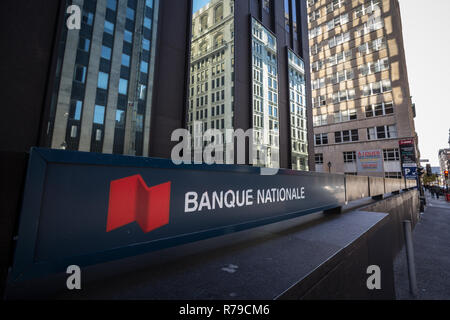 MONTREAL, CANADA - NOVEMBER 4, 2018: Logo of the National Bank of Canada, translated in French Banque Nationale, in Montreal, Quebec. It is one of the - Stock Image