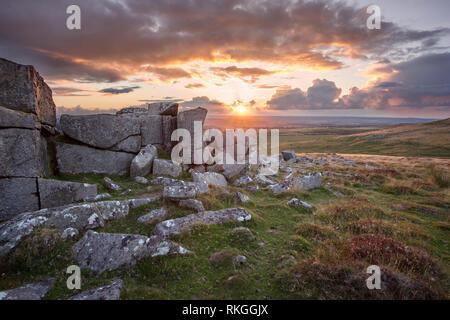 Doe Tor Dartmoor national park Devon Uk - Stock Image