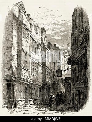 Serle's Place, London, England, UK demolished in 1866 to make way for the Royal Courts of Justice. 19th century Victorian engraving circa 1878 - Stock Image
