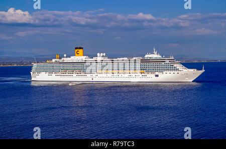 Costa Cruises cruise liner Costa Luminosa outside port of Katakolon Greece Europe - Stock Image