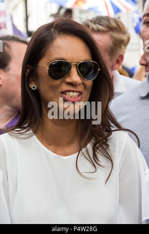 London, UK. 23 June 2018.Anti-Brexit march and rally for a People's Vote in Central London. Gina Miller. - Stock Image