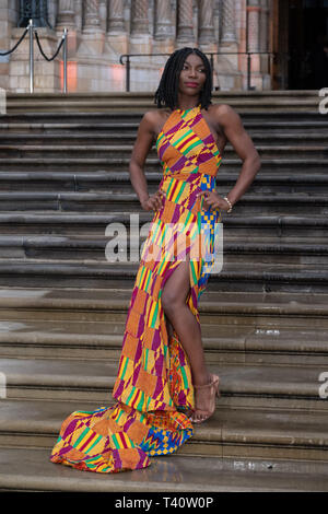 Michaela Coel attends The global premiere of Netflix's OUR PLANET on Friday 5 April 2019 at The Natural History Museum, London. . Picture by Julie Edwards. - Stock Image