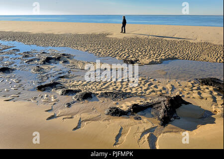 France, South-Western France, Atlantic Ocean, hardpan stones exhumed by erosion - Stock Image