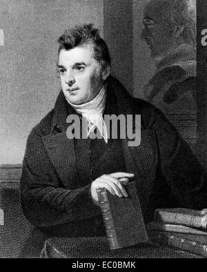 David Hosack (1769-1835) on engraving from 1835. Noted physician, botanist and educator. - Stock Image