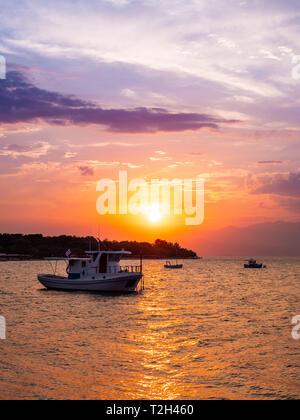 Sunset on Thasos Island, Greece - Stock Image