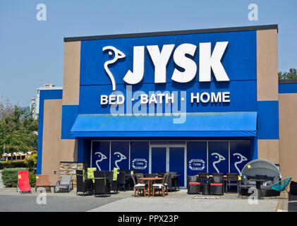 Jysk home furnishings store in Coquitlam, BC, Canada (Metro Vancouver) - Stock Image