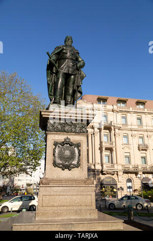 Statue of Kaiser Friedrich III (Frederick III), the Emperor of Germany, in Wiesbaden, the state capital of Hesse, Germany. - Stock Image