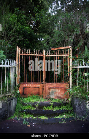 Door Fence in Le Tampon, Reunion island , France - Stock Image