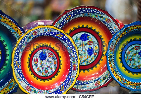 Shopping in Greece - ceramic plates - Stock Image