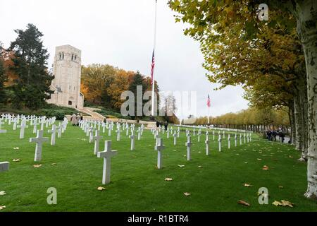 The American cemetery at the Aisne - Marne American Cemetery near the World War One battle ground of Belleau Wood November 10, 2018 in Belleau, France. President Donald Trump was scheduled to attend the ceremony but cancelled due to inclement weather. - Stock Image