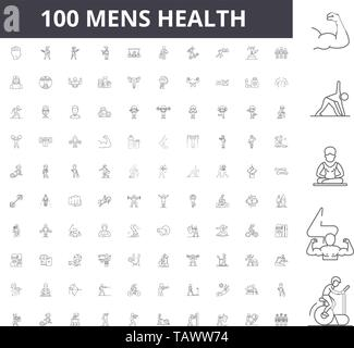 Mens health line icons, signs, vector set, outline illustration concept  - Stock Image