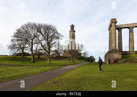 EDINBURGH, SCOTLAND - FEBRUARY 9, 2019 - Calton Hill, east of the New Town, is at the bottom of Princes Street - Stock Image