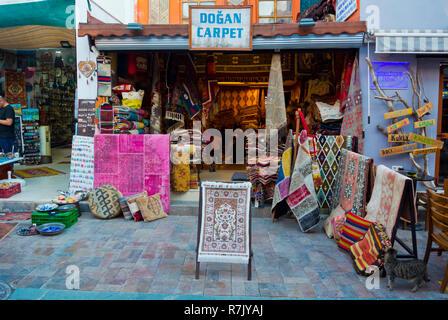 Carpet shop, Kaleici, old town, Antalya, Turkey, Eurasia - Stock Image