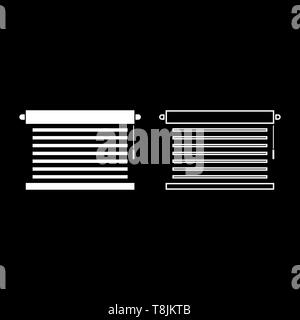 Jalousie Metal window jalousie for office Louvers icon outline set white color vector illustration flat style simple image - Stock Image