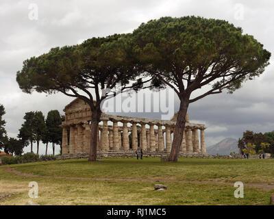 Temple of Athena Paestum, Solerno, Italy - Stock Image