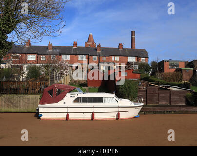 Preston, Lancashire, UK. 20th Mar 2019. Canal appears to turn to sand Preston, England.  A 50 metre length of the Lancaster canal in Preston looks like it has been in filled with sand and is solid enough to walk on.  This boat, moored at the bottom of a garden looks like it's beached on the 20.3.19. A non-native species of water fern called Azolla (Azolla filiculoides) has grown in the Lancaster canal along the length between Roebuck Street and Blackpool Road.   Credit: Colin Wareing/Alamy Live News - Stock Image