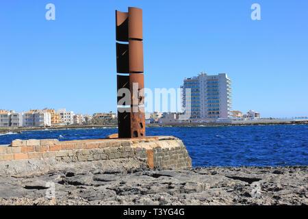 'Far de la Sal' Artwork on the Promenade of Colonia de Sant Jordi, Mallorca by artist Josep Maria Sirvent - Stock Image