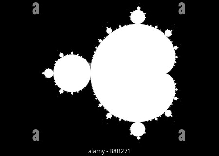 The Mandelbrot Set, white on black, rendered to a really high resolution, gives a crystal clear image of this iconic - Stock Image