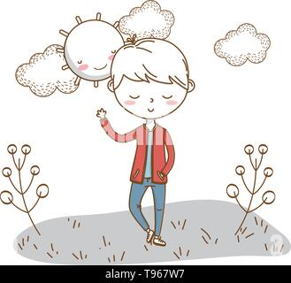 Stylish boy blushing cartoon outfit jeans jacket waving hello  nature clouds background frame and sun vector illustration graphic design - Stock Image