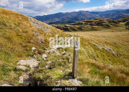 Repaired mountain path and waymarker sign in upland countryside in Snowdonia National Park hills. Nantgwynant, Gwynedd, North Wales, UK, Britain - Stock Image
