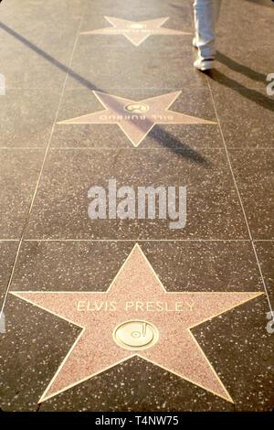 California Hollywood Sidewalk of the Stars Elvis Presley memorial star - Stock Image