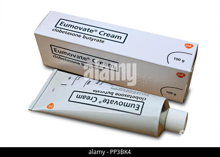 Tube and box of Eumovate ( clobetasone butyrate ) anti-inflammatory topical corticosteroid steroid cream prescribed for eczema and dermatitis - Stock Image