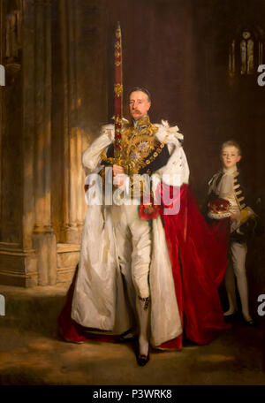 Charles Stewart, Sixth Marquess of Londonderry, Carrying the Great Sword of State at the Coronation of King Edward VII, August 1902, and Mr W C Beaumo - Stock Image
