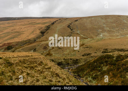 Scraggy landscape in the Brecon Beacons National Park lanscape, South Wales, UK - Stock Image