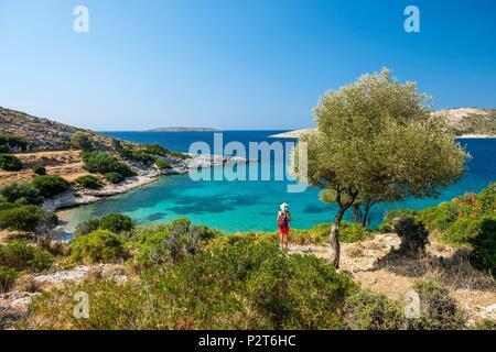 Geece, Dodecanese archipelago, Agathonisi island, Poros bay and Vathy Pigadi beach - Stock Image