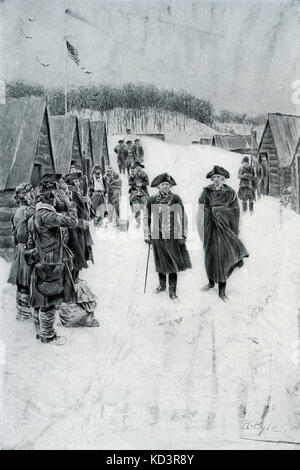 George Washington and Baron von Steuben at Valley Forge, 1778. American Revolution. Illustration by Howard Pyle, - Stock Image