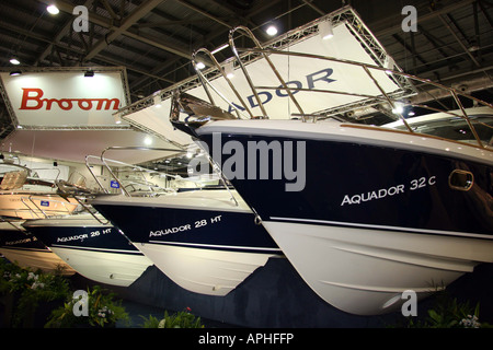Aquador 28 HT and 32C on dislpay stand at the lnodon boat show - Stock Image